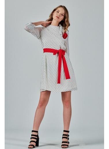 JEANNE D'ARC Yakadan Bağlamalı Kesme Puantiyeli Şifon Elbise  Beyaz